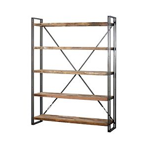 Recycled boat wood rack with 5 shelves and iron frame