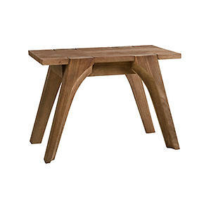 Trapesium stool from reclaimed teak wood