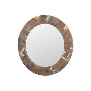 Round mirror with recycled boat wood frame